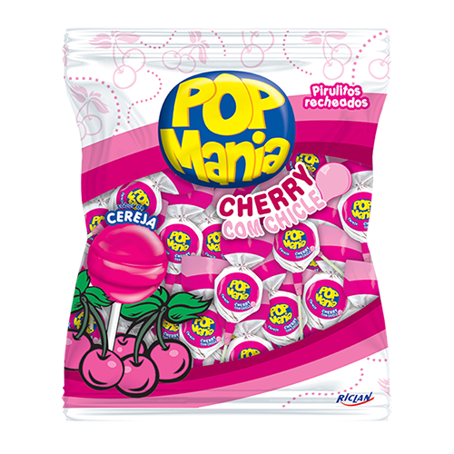 Pirulito Pop Mania Cherry 50un