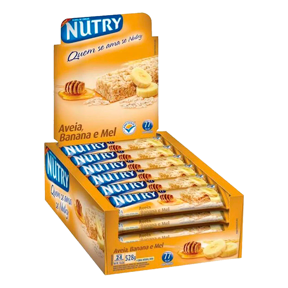 Barra de Cereal Nutry Aveia, Banana e Mel 24un 22g