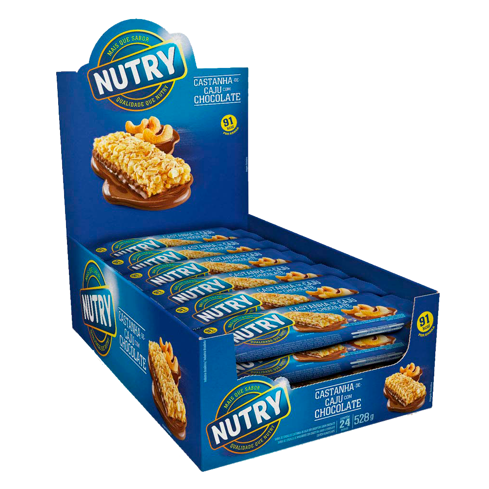 Barra de Cereal Nutry Caju com Chocolate 24un 22g