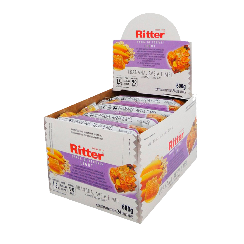 Cereal Ritter Light Banana, Aveia e Mel 24un 25g