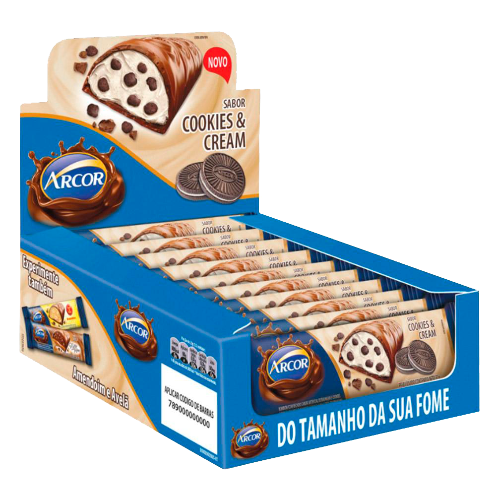 Tablete Recheado Cookies Cream 12un 37g