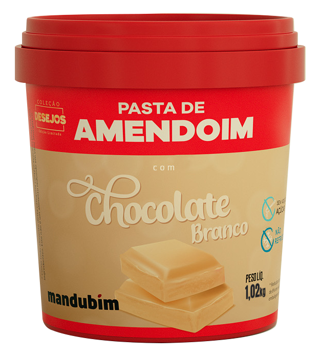 Pasta de Amendoim integral Chocolate Branco 1,02kg Mandubim