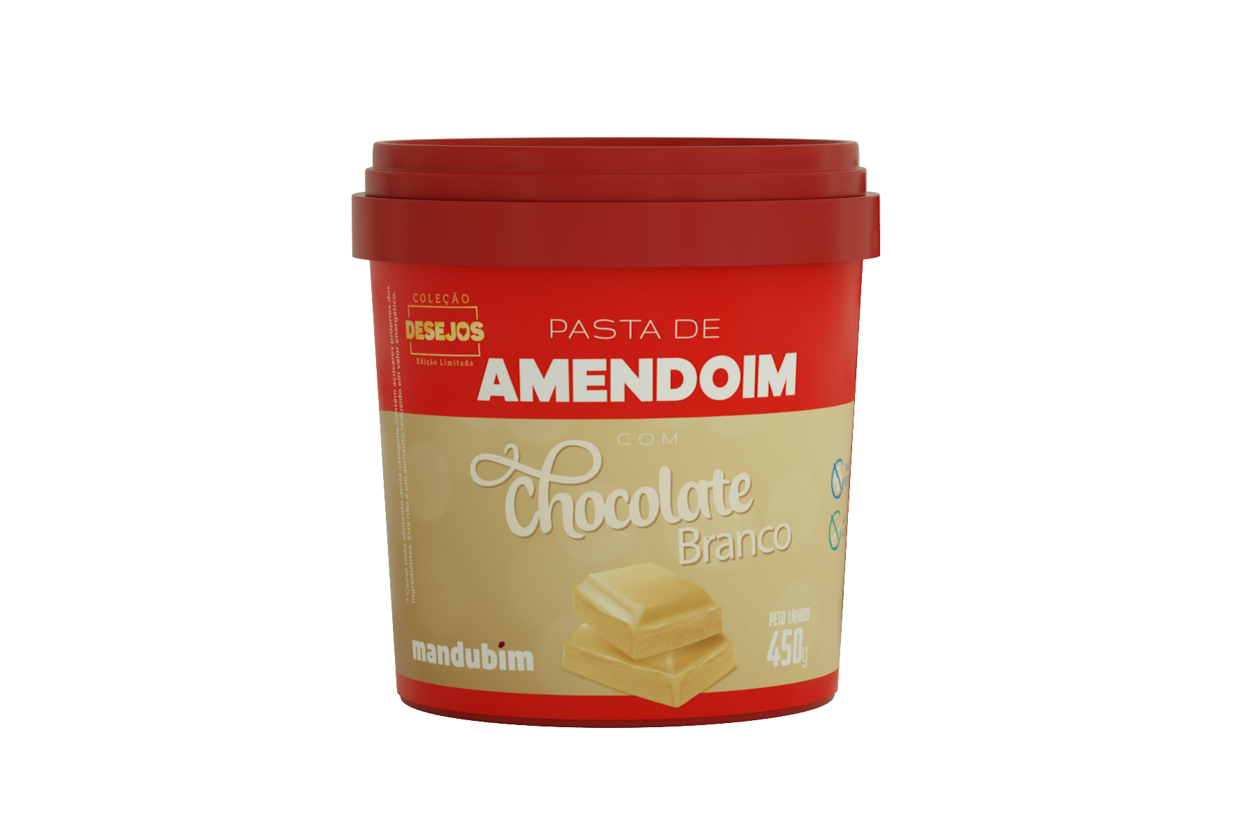 Pasta de Amendoim Integral Chocolate Branco 450g Mandubim