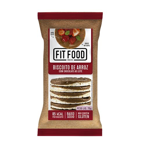 Biscoito de Arroz 70g Chocolate Ao Leite Fit Food